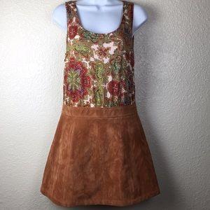 MINKPINK Paisley Vegan Suede Boho Dress